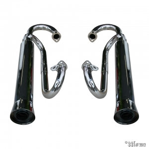 Double Baja muffler, upwards, chrome, mounting without heat exchanger as pair