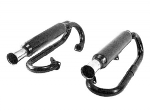 Double Baja muffler, upwards, black, mounting without heat exchanger as pair