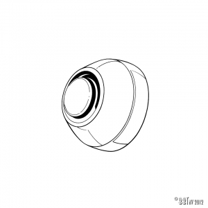 Axle cap between arm and body, each